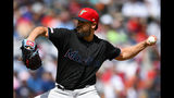 Miami Marlins' Caleb Smith pitches against the Atlanta Braves during the first inning of a baseball game Saturday, July 6, 2019, in Atlanta. (AP Photo/John Amis)