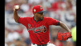 Atlanta Braves starting pitcher Julio Teheran works against the Miami Marlins during the first inning of a baseball game Friday, July 5, 2019, in Atlanta. (AP Photo/John Bazemore)