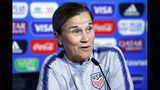 United States coach Jill Ellis attends a press conference at the Stade de Lyon, outside Lyon, France, Saturday, July 6, 2019. US will face Netherlands in a Women's World Cup final match Sunday in Lyon. (AP Photo/Francois Mori)