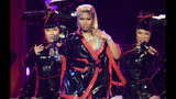 FILE - This June 24, 2018 file photo shows Nicki Minaj performing at the BET Awards in Los Angeles. Minaj is pulling out a concert in Saudi Arabia because she says she wants to show support for women's rights, gay rights and freedom of expression. She was originally scheduled to headline the concert on July 18, 2019. The Human Rights Foundation issued a statement last week, calling for Minaj and other performers to pull out of the show. (Photo by Richard Shotwell/Invision/AP, File)