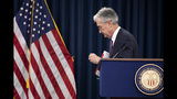 FILE - In this June 19, 2019, file photo Federal Reserve Chairman Jerome Powell concludes a news conference following a two-day Federal Open Market Committee meeting in Washington. On Wednesday, July 10, the Federal Reserve releases minutes from its June meeting when it left rates unchanged. (AP Photo/Manuel Balce Ceneta, File)