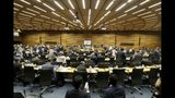 General view of the board of governors meeting of the International Atomic Energy Agency, IAEA, at the International Center in Vienna, Austria, Wednesday, July 10, 2019. (AP Photo/Ronald Zak)