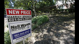 """In this June 13, 2019, photo a house on the market has a """"new price"""" sign fixed on the realtor's sign in northeast Jackson, Miss. On Thursday, July 11, Freddie Mac reports on this week's average U.S. mortgage rates. (AP Photo/Rogelio V. Solis)"""