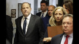 "Harvey Weinstein, left, arrives at court for a hearing related to his sexual assault case, Thursday, July 11, 2019, in New York. Weinstein's lawyer Jose Baez is going to court Thursday to get a judge's permission to leave the case, the latest defection from what was once seen as a modern version of O.J. Simpson's ""dream team"" of attorneys. (AP Photo/Richard Drew)"