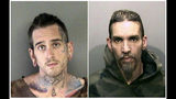 FILE - These June 2017 file booking photos provided by the Alameda County Sheriff's Office shows Max Harris, left, and Derick Almena at Santa Rita Jail in Alameda County, Calif. Derick Almena, the founder of a California communal living warehouse where a fire killed 36 people more than two years ago, says he's not blaming anyone else in the deadly fire, the East Bay Times reported Thursday, July 11, 2019. (Alameda County Sheriff's Office via AP, File)