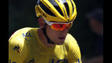Italy's Giulio Ciccone wearing the overall leader's yellow jersey rides in the pack during the seventh stage of the Tour de France cycling race over 230 kilometers (142,9 miles) with start in Belfort and finish in Chalon sur Saone, France, Friday, July 12, 2019. (AP Photo/Thibault Camus)
