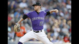 FILE--In this Saturday, May 25, 2019, file photo, Colorado Rockies starting pitcher Kyle Freeland works against the Baltimore Orioles in the first inning of a baseball game in Denver. Freeland has been brought back to the Rockies after spending two months at the team's Triple-A affiliate in Albuquerque, N.M. (AP Photo/David Zalubowski, File)