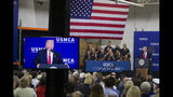 El presidente Donald Trump habla en Derco Aerospace Inc., subsidiaria de Lockheed Martin, el viernes 12 de julio del 2019, en Milwaukee. (AP Foto/Alex Brandon)