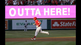 Los Angeles Angels' Mike Trout rounds the bases after his two-run home run against the Seattle Mariners during the first inning of a baseball game Friday, July 12, 2019, in Anaheim, Calif. (AP Photo/Marcio Jose Sanchez)