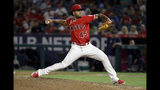 Los Angeles Angels relief pitcher Felix Pena throws to a Seattle Mariners batter during the sixth inning of a baseball game Friday, July 12, 2019, in Anaheim, Calif. (AP Photo/Marcio Jose Sanchez)