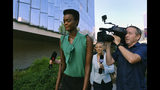 Australian-South Sudanese model Adau Mornyang arrives at the Federal Courthouse in downtown Los Angeles on Monday, July 15, 2019. The model and former Miss World Australia finalist, Mornyang is set for sentencing in federal court for attacking a flight attendant and yelling a racial slur at an air marshal during a Melbourne to Los Angeles flight. (AP Photo/Richard Vogel)
