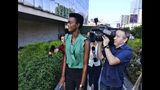 Australian-South Sudanese model Adau Mornyang arrives at the Federal Courthouse in downtown Los Angeles on Monday, July 15, 2019. The model and former Miss World Australia finalist Mornyang is set for sentencing in federal court for attacking a flight attendant and yelling a racial slur at an air marshal during a Melbourne to Los Angeles flight. (AP Photo/Richard Vogel)