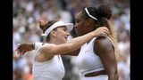 Romania's Simona Halep hugs United States' Serena Williams after defeating her in the women's singles final match on day twelve of the Wimbledon Tennis Championships in London, Saturday, July 13, 2019.(Laurence Griffiths/Pool Photo via AP)