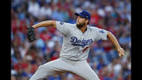 Los Angeles Dodgers' Clayton Kershaw pitches during the third inning of a baseball game against the Philadelphia Phillies, Monday, July 15, 2019, in Philadelphia. (AP Photo/Matt Slocum)