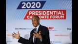 Democratic presidential candidate Sen. Cory Booker speaks during a presidential candidates forum sponsored by AARP and The Des Moines Register, Monday, July 15, 2019, in Des Moines, Iowa. (AP Photo/Charlie Neibergall)