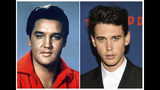 """This combination photo shows singer-actor Elvis Presley in a 1964 photo, left, and actor Austin Butler at the premiere of """"The Dead Don't Die"""" in New York on June 10, 2019. Butler has been cast to portray Presley in the upcoming biopic by director Baz Luhrmann. Production is to begin early next year. Tom Hanks co-stars as Presley's manager Colonel Tom Parker. (AP Photo)"""