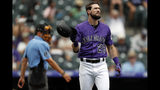 Colorado Rockies' David Dahl reacts after striking out against San Francisco Giants starting pitcher Jeff Samardzija to end the sixth inning of a baseball game Monday, July 15, 2019, in Denver. (AP Photo/David Zalubowski)