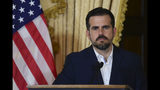 Puerto Rico governor Ricardo Rossello holds a press conference, almost two days after federal authorities arrested the island's former secretary of education and five other people on charges of steering federal money to unqualified, politically connected contractors, in San Juan, Puerto Rico, Thursday, July 11, 2019. At the time of the arrests, Rossello was in the middle of a family vacation in France, which he canceled to travel back to the Island. U.S. Attorney for Puerto Rico Rosa Emilia Rodríguez said Gov. Ricardo Rossello was not involved in the investigation. (AP Photo/Carlos Giusti)