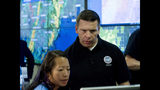 Acting Homeland Security Secretary Kevin McAleenan speaks with FEMA personnel, as he gets information about a storm system, in a visit to the National Response Coordination Center at FEMA headquarters in Washington, Sunday, July 14, 2019. (AP Photo/Jose Luis Magana)