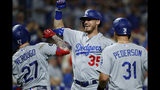 Los Angeles Dodgers' Alex Verdugo (27), Cody Bellinger (35) and Joc Pederson (31) celebrate after Verdugo's two-run home run off Philadelphia Phillies relief pitcher Yacksel Rios during the eighth inning of a baseball game, Monday, July 15, 2019, in Philadelphia. (AP Photo/Matt Slocum)