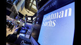 FILE - In this Dec. 13, 2016, file photo, the logo for Goldman Sachs appears above a trading post on the floor of the New York Stock Exchange. The Goldman Sachs Group Inc. reports financial results on Tuesday, July 16, 2019. (AP Photo/Richard Drew, File)