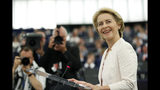 Germany's Ursula von der Leyen delivers her speech at the European Parliament in Strasbourg, eastern France, Tuesday July 16, 2019. Ursula von der Leyen outlined her vision and plans as Commission President. The vote, held by secret paper ballot, will take place later today. (AP Photo/Jean-Francois Badias)
