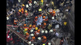 Rescuers carry out a survivor from the site of a building that collapsed in Mumbai, India, Tuesday, July 16, 2019. A four-story residential building collapsed Tuesday in a crowded neighborhood in Mumbai, India's financial and entertainment capital, and several people were feared trapped in the rubble, an official said. (AP Photo/Rajanish Kakade)