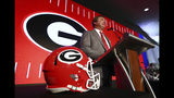 Georgia head coach Kirby Smart speaks during a press conference at the Southeastern Conference NCAA college football media days in Hoover, Ala., Tuesday, July 16, 2019. (Curtis Compton /Atlanta Journal-Constitution via AP)