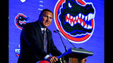 Head Coach Dan Mullen, of Florida, speaks during the NCAA college football Southeastern Conference Media Days, Monday, July 15, 2019, in Hoover, Ala. (AP Photo/Butch Dill)