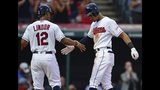 Cleveland Indians' Oscar Mercado, right, is congratulated by Francisco Lindor after hitting a two-run home run off Detroit Tigers starting pitcher Ryan Carpenter during the second inning of a baseball game against the Detroit Tigers, Tuesday, July 16, 2019, in Cleveland. (AP Photo/David Dermer)