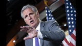 """House Republican Leader Kevin McCarthy, D-Calif., speaks to reporters ahead of a vote ordered by House Speaker Nancy Pelosi, D-Calif., to condemn what she called """"racist comments"""" by President Donald Trump directed at Reps. Ilhan Omar of Minnesota, Alexandria Ocasio-Cortez of New York, Ayanna Pressley of Massachusetts and Rashida Tlaib of Michigan, at the Capitol in Washington, Tuesday, July 16, 2019. GOP leaders dismissed the criticism of President Trump, calling it """"politics"""" and """"one more chance to go after our President"""" by the Democrats. (AP Photo/J. Scott Applewhite)"""