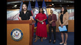"From left, Rep. Alexandria Ocasio-Cortez, D-N.Y., Rep. Ayanna Pressley, D-Mass., Rep. Ilhan Omar, D-Minn., and Rep. Rashida Tlaib, D-Mich., respond to remarks by President Donald Trump after his call for the four Democratic congresswomen to go back to their ""broken"" countries, during a news conference at the Capitol in Washington, Monday, July 15, 2019. All are American citizens and three of the four were born in the U.S. (AP Photo/J. Scott Applewhite)"