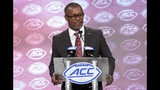 Florida State head coach Willie Taggart speaks during the Atlantic Coast Conference NCAA college football media day in Charlotte, N.C., Wednesday, July 17, 2019. (AP Photo/Chuck Burton)