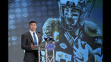 Wake Forest's Cade Carney speaks during the Atlantic Coast Conference NCAA college football media day in Charlotte, N.C., Wednesday, July 17, 2019. (AP Photo/Chuck Burton)