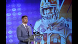 Clemson's Tanner Muse speaks during the Atlantic Coast Conference NCAA college football media day in Charlotte, N.C., Wednesday, July 17, 2019. (AP Photo/Chuck Burton)