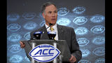 Wake Forest head coach Dave Clawson speaks during the Atlantic Coast Conference NCAA college football media day in Charlotte, N.C., Wednesday, July 17, 2019. (AP Photo/Chuck Burton)
