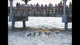 People on the St. Simons pier watch as Georgia Department of Natural Resources personnel and beachgoers struggle to keep a short-fin pilot whale from crashing into the seawall on St. Simons Island, Ga., Tuesday, July16, 2019. Dozens of pilot whales beached themselves on a Georgia shore and most were rescued by authorities and onlookers who pulled the animals further into the water. (Bobby Haven /The Brunswick News via AP)