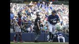 Milwaukee Brewers' Christian Yelich hits a home run during the sixth inning of a baseball game against the Atlanta Braves Wednesday, July 17, 2019, in Milwaukee. (AP Photo/Morry Gash)