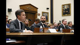 Google Director of Economic Policy Adam Cohen, left, testifies alongside Facebook Head of Global Policy Development Matt Perault, second from left, Amazon Associate General Counsel Nate Sutton and Apple Vice President for Corporate Law and Chief Compliance Officer Kyle Andeer during a House Judiciary subcommittee hearing, Tuesday, July 16, 2019, on Capitol Hill in Washington. (AP Photo/Patrick Semansky)