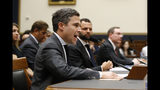 Google Director of Economic Policy Adam Cohen testifies alongside Facebook Head of Global Policy Development Matt Perault, back center, and Amazon Associate General Counsel Nate Sutton, back right, during a House Judiciary subcommittee hearing, Tuesday, July 16, 2019, on Capitol Hill in Washington. (AP Photo/Patrick Semansky)