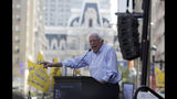 Democratic presidential candidate Bernie Sanders, I-Vt., delivers remarks at a rally alongside unions, hospital workers and community members against the closure of Hahnemann University Hospital in Philadelphia, Monday July 15, 2019. (AP Photo/Jacqueline Larma)