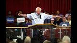 Democratic presidential candidate Sen. Bernie Sanders, I-Vt., speaks during a town hall meeting at the Victory Missionary Baptist Church in Las Vegas on Saturday, July 6, 2019. (Steve Marcus/Las Vegas Sun via AP)