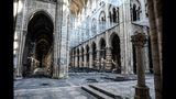 Damage on the nave and rubble during preliminary work in the Notre-Dame de Paris Cathedral three months after a major fire Wednesday, July 17, 2019 in Paris. The chief architect of France's historic monuments says that three months after the April 15 fire that devastated Notre Dame Cathedral the site is still being secured. (Stephane de Sakutin/Pool via AP)