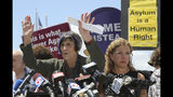 Rep. Rosa DeLauro, D-Conn., left, and Rep. Debbie Wasserman Schultz, D-Fla., right, hold a news conference following a tour of the Homestead Temporary Shelter for Unaccompanied Children, Monday, July 15, 2019, in Homestead, Fla. (AP Photo/Lynne Sladky)