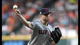 FILE - In this April 26, 2019, file photo, Cleveland Indians starting pitcher Corey Kluber throws against the Houston Astros during the first inning of a baseball game in Houston. Kluber's broken arm is healing as hoped and he could soon be throwing bullpen sessions. He sustained a fractured ulna when he was struck by a line drive on May 1 in Miami. (AP Photo/David J. Phillip, File)