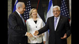 FILE - In this Sept. 14, 2010 file photo, Israeli Prime Minister Benjamin Netanyahu, left, US Secretary of State Hillary Rodham Clinton, and Palestinian President Mahmoud Abbas, meet in Sharm El-Sheikh, Egypt. As Netanyahu becomes Israel's longest-serving prime minister, he is solidifying his place as the country's greatest political survivor and the most dominant force in Israeli politics in his generation.(AP Photo/Alex Brandon, Pool, File)