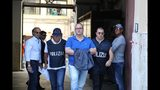 Suspect Salvatore Gambino, center, is taken into custody during an anti-mafia operation lead by the Italian Police and the FBI in Palermo, Southern Italy, Wednesday, July 17, 2019. Italian police and the FBI arrested 19 suspected Mafiosi in a joint operation Wednesday following an investigation which revealed alleged ties between Sicily's Cosa Nostra Mafia and New York's Gambino crime family. (Igor Petix/ANSA Via AP)