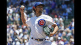 Chicago Cubs starting pitcher Yu Darvish delivers against the Pittsburgh Pirates during the first inning of a baseball game, Friday, July 12, 2019, in Chicago. (AP Photo/Kamil Krzaczynski)