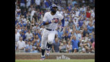 Chicago Cubs' Jason Heyward runs after hitting a two-run double during the seventh inning of a baseball game against the Cincinnati Reds in Chicago, Wednesday, July 17, 2019. (AP Photo/Nam Y. Huh)