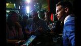 South Carolina quarterback Jake Bentley speaks to reporters during the NCAA college football Southeastern Conference Media Days, Wednesday, July 17, 2019, in Hoover, Ala. (AP Photo/Butch Dill)